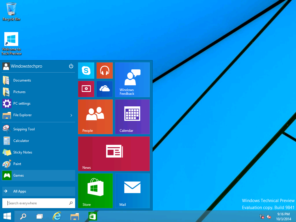 Windows 10 technical preview released windowstechpro my favorite start menu is back with new customizable space window ccuart Images