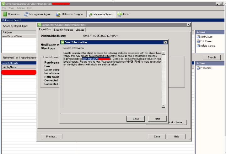 Duplicate SIP Proxy Error in DirSync for Office 365 | Windowstechpro