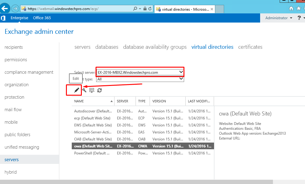 How to Change Authentication Method for OWA in Exchange 2016