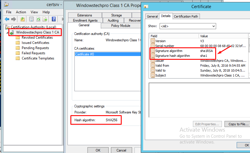 How to Migrate PKI 2-Tier SHA1 to SHA256 in Windows Server