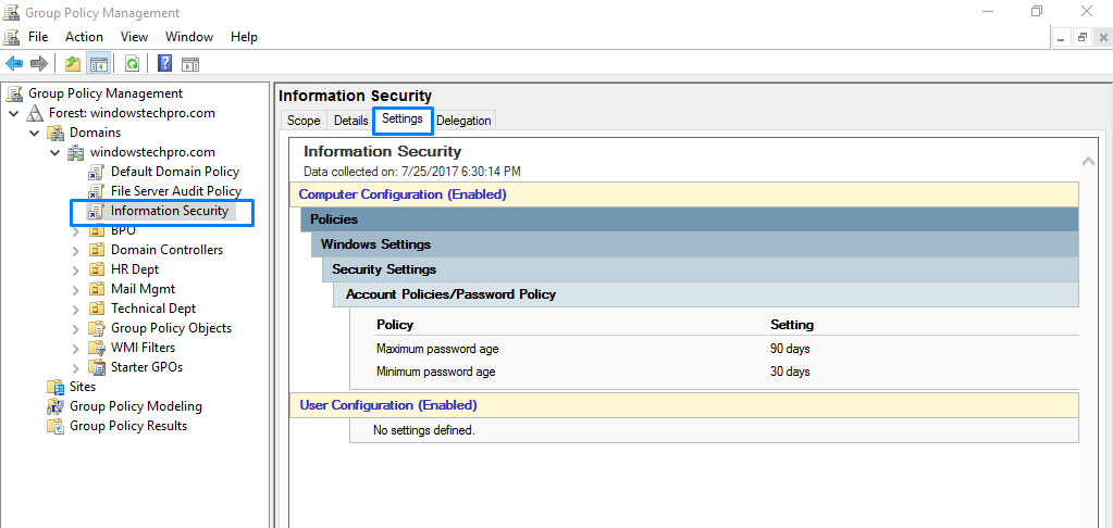 Creating and managing a Group Policy in Windows server 2016