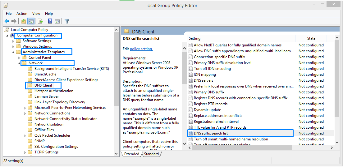 How to apply Multiple DNS Suffix Search using Group Policy