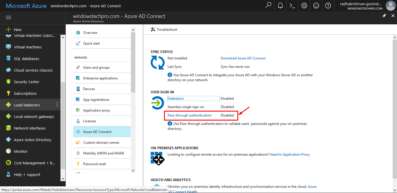 How to install Azure Active Directory Pass-through Authentication