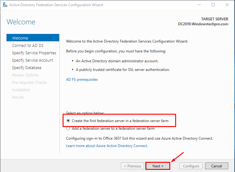 How to Install Active Directory Federation Services(ADFS) on