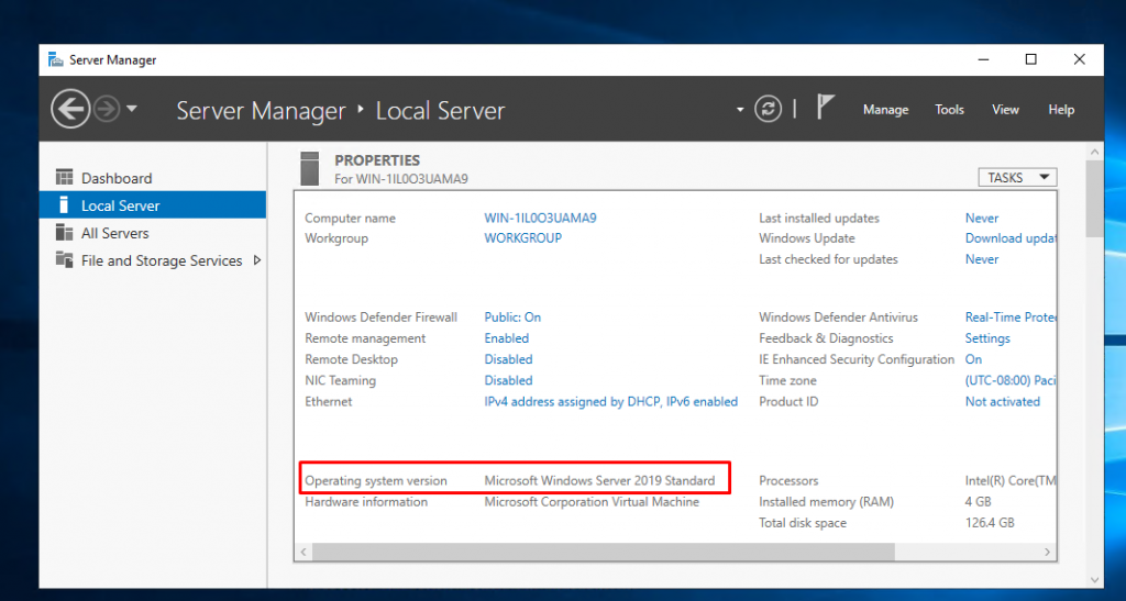 Server 2019 Installation and Promoting First Domain