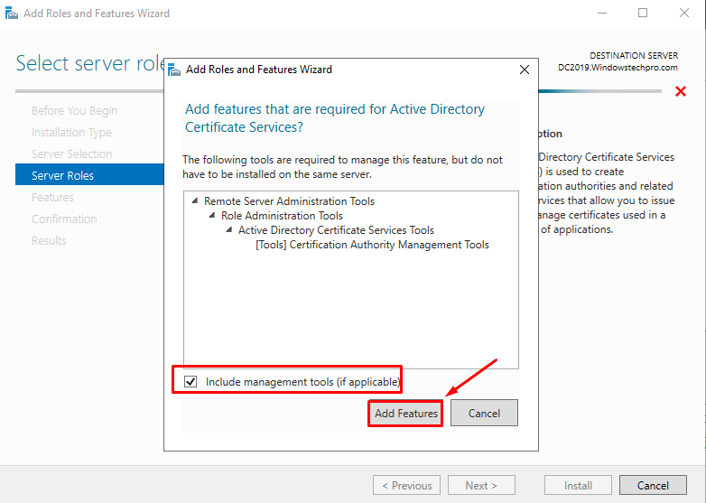 How to Install Certificate Services (AD CS) in Server 2019